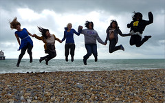Fun at Brighton Beach (oxfordian.world) Tags: girls england beach fun seaside jumping women brighton females brightonbeach sixpack brightonandhove funnygirls oxfordian 201209 lumixlx7 oxfordianworld oxfordiankissuth