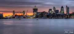 A London Postcard? / London, UK (Niels Photography) Tags: street city uk bridge light sunset england sky urban panorama london tower heron beautiful st thames architecture night canon river eos rebel 50mm lights construction long exposure pretty skyscrapers britain dusk mary great under central pauls axe gherkin 42 hdr highrises leadenhall fenchurch 500d t1i nielskristianphotography