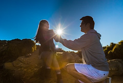 Mountain Top Proposal  (Sharleen Chao) Tags: sunset people sun love couple wind taiwan windy romance ring diamond proposal sihouette sunflare  lifetime happymoment