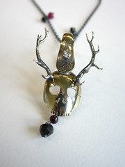 Antlered Spoon Skull Pendant - 9 (the justified sinner) Tags: silver skull stag spoon jewelry deer panasonic jewellery chain ruby brass quartz foundobject f25 pendant antler garnet haematite 14mm gh2 spinel justifiedsinner