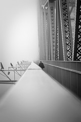 The Bridge Edge (Neal Moran Photo) Tags: uk morning bridge autumn mist fog canon person cheshire steel sunday structure single edge figure getty 2012 runcorn widnes floodlights 600d gettycurator