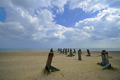 THE VANISHING (DESPITE STRAIGHT LINES) Tags: county wood england sky cloud rot tourism beach wet water clouds season coast pier wooden seaside sand day waves cloudy sandy tide seasonal norfolk shoreline wave bluesky tourist shore northsea april rotten posts greatyarmouth tidal cloudscape sandybeach rotted thenorthsea woodensupports brokenpier greatyarmouthnorfolk disapeared greatyarmouthbeach coastalcoastline ilobsterit