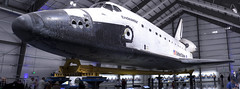 Space Shuttle Endeavour at California Science Center (aguayo) Tags: california panorama usa museum losangeles unitedstates space dream pride exhibit panoramic nasa american photomerge awe spaceshuttle endeavor orbiter californiasciencecenter spaceflight endeavour ov105 canon5dii