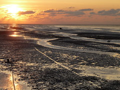 Low tide at sunset (Alta alatis patent) Tags: sunset nature landscape sailing anchor lowtide wad worldheritage droogvallen waddensea laagwater