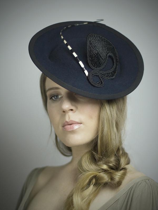 a89c3db8eda Blue Felt Saucer Hat (Maggie Mowbray) Tags  beauty hat canon model hats cap