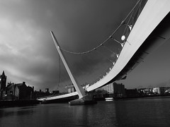 Curves [explored in and out!] (Tadgh  Maoildearg) Tags: bridge ireland white black river iron peace londonderry norn derry foyle 2013 blackwhitephotos 8365