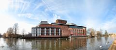 Royal Shakespeare Theatre, Stratford-upon-Avon (Humphrey Hippo) Tags: uk england sky panorama canon river theater theatre pano shakespeare swans warwickshire stratforduponavon riveravon rsc royalshakespearetheatre 1585mm canon7d canonefs1585mmf3556isusm