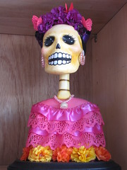 Day of the Dead Female Sculpture (shaire productions) Tags: flowers sculpture woman inspiration flower floral rose lady female dayofthedead skeleton photography photo artwork colorful image artistic crafts arts culture pic mexican bust creation photograph bones diadelosmuertos skeletal cultural imagery