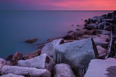 Slippery when wet (matt_frankel) Tags: park blue lake cold ice water sunrise point dawn frozen nikon rocks long exposure michigan hyde hour nd nikkor pinks density promontory neutral 2470 d90 10stop