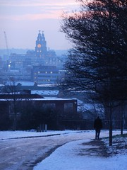 view down Village Street, Everton (Towner Images) Tags: park city winter copyright snow building art silhouette architecture liverpool construction community dusk walk illumination pedestrian architectural stroll liver neighbourhood cultural merseyside scouser everton scouse villagestreet towner townerimages merseysidecivicsociety