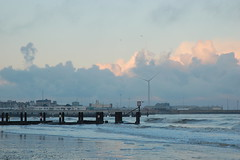 Afternoon light on Lowestoft South Beach (Kirkleyjohn) Tags: beach clouds waves shoreline groyne windturbine lowestoft lowestoftbeach lowestoftsouthbeach