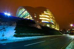 The Sage Gateshead (Daisy Swain) Tags: longexposure england snow building glass architecture newcastle exterior structure sage gateshead normanfoster northumberland nighttime newcastleupontyne sigma1020mm canon60d forsterpartners