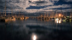 Moon rising. 231/366 (jenniferdudley) Tags: sailor boat lightroom longexposure night nightphotography reflections sky moon moonrise fullframe nikond750 nikonphotography nikon reflection yacht yachtclub harbour manlyharbour manly 18aug16 day231366 366the2016edition 3662016