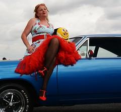 Ange L'Que_8787 (Fast an' Bulbous) Tags: high heels stilettos stockings dress girl woman car vehicle muscle automobile oldtimer classic american santa pod chick babe mature milf nikon d7100 gimp