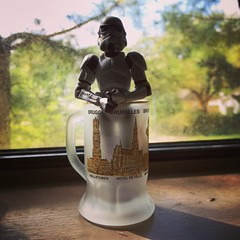 Storm in a shot glass (Groundnutz) Tags: actionfigure shotglass window shotoniphone iphoneography you stormtroopers