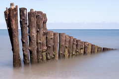 Porlock Groynes 04 (Photograferry) Tags: exmoor nationalpark uk southwest england outside nopeople landscape nature 2016 porlock beach coast ocean longexposure groynes weathered wooden posts sea smooth