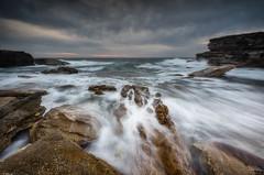 Inflow Wash (Crouchy69) Tags: sunrise dawn landscape seascape ocean sea water waves coast rocks clouds sky little bay sydney australia