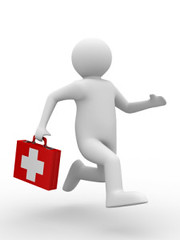 doctor runs to aid. Isolated 3D image (verseskonyv) Tags: doctor medicine firstaid aid health treatment healthcare medical equipment isolated whitebackground care object illness assistance single pain relief charity protective closeup hospital help 3d illustration flu tablet case red cross suitcase briefcase bag handle one container storage box lock closed run runner man people human speed quickly fast