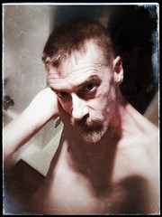 Practice, Practice, Practice. It's just shy of a month 'till All Hallowed Eve. (Ronald (Ron) Douglas Frazier) Tags: male nude selfie over50 gay married indoor beard face snapseed midwest illinois