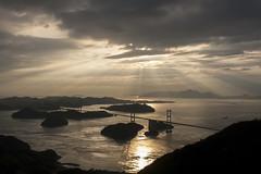 Seto Inland Sea (MTS Farrell) Tags: sunset mountain sea ocean sunbeams golden landscape japan shimanamikaido bridge travel cycling tourism tourist peaceful relaxing