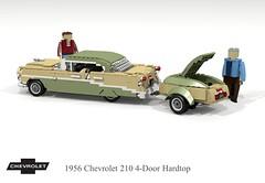 1956 Chevrolet 210 4-Door Hardtop & trailer (lego911) Tags: chevrolet chevy chev 1956 210 1960s 4door hard top hardtop classic 1950s trifive auto car moc model miniland lego lego911 ldd render cad povray lugnuts challenge 107 saturdaymorningshownshine saturday morning show n shine usa america v8 chrome trailer luggage