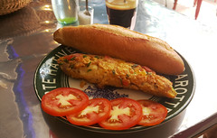 Omelette and short black (Roving I) Tags: omelette eggs breakfast tomatoes breadrolls shortblack coffee dining cafes cabanon danang vietnam