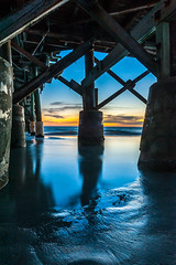 Blue Hour Under the Pier (blue5011b) Tags: sunset florida ocean gulfofmexico pier longexposure bluehour smooth water beach nikon d700 2470mm lightroom