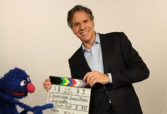 """Deputy Secretary Blinken Poses for a Photo With Sesame Street's """"Grover"""" (U.S. Department of State) Tags: antonyblinken grover unga sesamestreet newyork"""