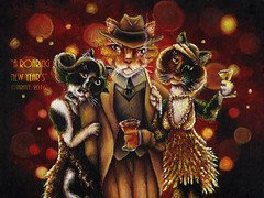 A Roaring New Years' Cat Painting (TaraFly) Tags: newyears roaringtwenties flappers 1920s cocktailparty twogirls catwearingsuit catladies catpainting catart catportrait catartist tarafly