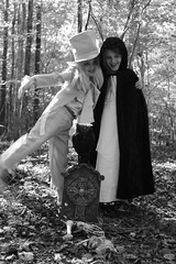 Ghostly Gentleman and Ghoul (jelizholt) Tags: halloween ghost demon graveyard scarycostume vintagehalloween spookyforest tombstone horror haunted cemetery