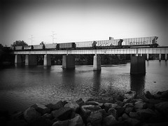 HUNT & EL KAMINO (BLACK VOMIT) Tags: bridge cars car train river graffiti ol james virginia south over el dirty richmond dos va elk coal mayhem freight hunt rva ssp coalies kamino elkamino flickrandroidapp:filter=none
