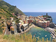 Vernazza from the terraced mountainside vineyards high above the town (Bn) Tags: santa travel blue sea summer cactus italy holiday castle heritage beach church water colors fruit boats harbor fishing sand topf50 colorful mediterranean day village hiking walk liguria ngc tourist lovers unesco clear trail vineyards olives cinqueterre charming opuntia vernazza viewpoint picturesque topf100 margherita italianriviera ruined nocars pamtree rockycoastline viadellamore 100faves 50faves dantiochia