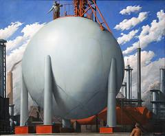 Chemical Plant, 1950 (Mr. History) Tags: circle globe michigan sphere round muskegon wyandotte muskegonmuseumofart wyandottechemicalscompany