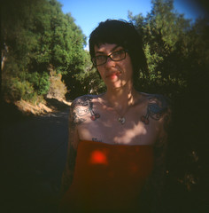 Nickie (tangent) Tags: portrait 120 holga fuji slidefilm velvia sanandreasfault nickie crystalspringsreservoir