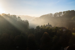 Abbey in a foggy autumn morning (digsim) Tags: autumn abbey suisse fribourg shaftsofsunlight