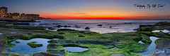 Newcastle-Beach-Panoramic (Kiall Frost) Tags: ocean city blue red panorama orange sun seascape colour green beach water sunrise newcastle landscape photography photo nikon surf image pano australia panoramic nsw stitched d7000 kiallfrost