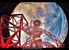 Orbit Tower Earth Approach (Edwinjones) Tags: new uk greatbritain blue light sunset red sky sculpture colour detail building london art modern night photoshop dark logo stars observation evening design artwork colours bright unitedkingdom britain steel space dream surreal wideangle games sharp galaxy fantasy nebula montage layer british layers sciencefiction bluehour olympic transparent olympics universe olympicpark orbit hdr stardust stratford 2012 topaz olympicgames london2012 photomatix teamgb mittal olympicsstadium arcelormittal earthorbit orbittower