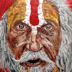Sadhu Study 01 (TroyStith) Tags: people art painting acrylic expressionism spiritual hindu sadhu gessoboard troystith