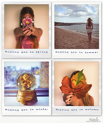 The circle of longing... (Natalia Ancora Photography) Tags: autumn winter summer woman fall love primavera girl collage polaroid four typography words spring mujer missing chica seasons you text 4 memories verano otoo invierno lonely te miss distance recuerdos missed texto distancia extrao