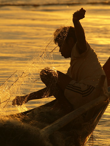 A fisherman checking his net in Cambodia. Photo by Jamie Oliver, 2008.