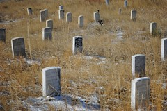 Headstones of where they fell on 25th June 1876 at the battle of Little Bighorn, Custer Headstone in black (Julia R2012) Tags: snow headstone littlebighorn custer littlebighornbattlefield
