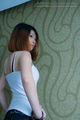 Snow (Alphone Tea) Tags: life light shadow portrait people favorite orange woman white black color cute sexy art window girl beautiful beauty smile closeup composition contrast pose print happy photography hotel daylight photo amazing bed model eyes asia pretty slim bright sweet bokeh modeling body room teeth leg great models chinese young adorable indoor malaysia lovely staring naturalight 2012 1755 60d