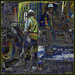 Construction Guys. Explore Oct 27, 2012 #325 (Tim Noonan) Tags: life city urban colour building texture wheel digital photoshop site workers construction hole mud mesh cigarette helmet mac