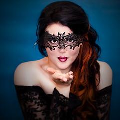 Halloween (pyathia) Tags: blue woman black halloween me girl self dark carved mask lace gothic goth bat longhair copper masquerade carissa intricate darkhair twotone twotonehair halfandhalfhair
