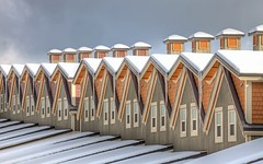 Snow on Rooftops (gordeau) Tags: architecture snow repetition buildings inarow gordon ashby gordeau bigwhite thepinnaclehof tphofweek174 flickrchallengewinner flickrchallengegroup kanchenjungachallengewinner