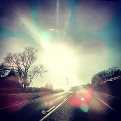 On the Road Again (Venusian Lady) Tags: road sunset sky sun tree fall beautiful square landscape colorful driving squareformat sunrays android iphoneography androidography instagram instagramapp xproii uploaded:by=instagram