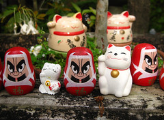 (-Michik-) Tags: maneki neko cat   daruma nippon nihon japan small monument         hiroshima miyajima itsukushima red akai           sweet sute