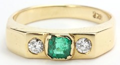 1056. Three Stone Emerald and Diamond Ring