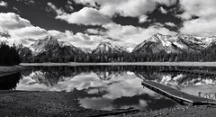 All is calm, all is bright (CNorthExplores) Tags: park travel autumn trees vacation sky bw usa white lake black mountains reflection fall nature water clouds marina docks canon landscape bay bright united sunny grand calm jackson powershot mount national shore states wyoming teton moran g11 colter bivouacpeak eaglesrestpeak snapseed