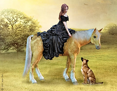 """Climb Aboard"" (rubyblossom.) Tags: horse dog lady gallery ride country stock da 23 moire challenge 47 users"